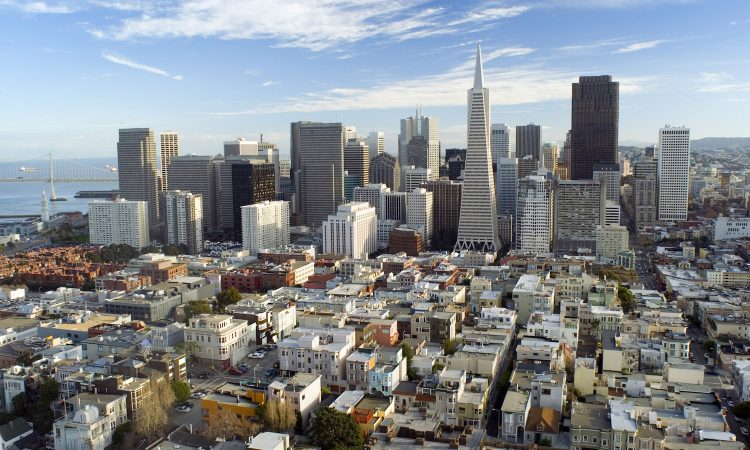tall buildings of san francisco skyline viewed from coit tower